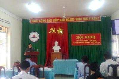 Hình ảnh kiểm tra, đánh giá Trường THPT Trường Chinh đạt chuẩn quốc gia.
